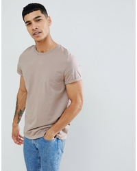ASOS DESIGN T Shirt With Crew Neck And Roll Sleeve In Beige