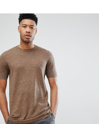 ASOS DESIGN Tall Knitted T Shirt In Tan Twist