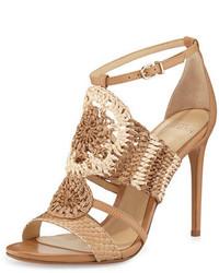 Alexandre Birman Jenne Crochet High Heel Sandal Tropic Latte