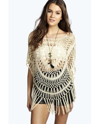 Boohoo Lily Crochet Poncho Style Top