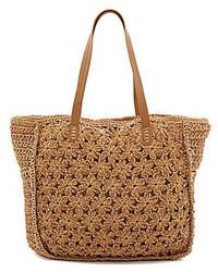 Straw Studios Woven Straw Floral Crochet Beach Tote