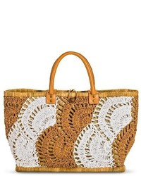 Woven crochet pattern straw tote handbag tan tm medium 283940