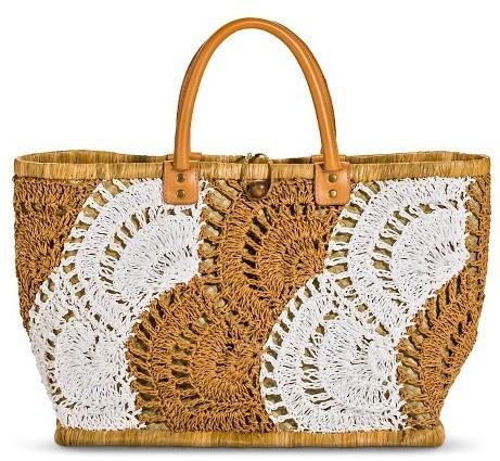Merona Woven Crochet Pattern Straw Tote Handbag Tan Tm Where To