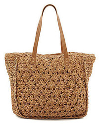 Woven straw floral crochet beach tote medium 283943