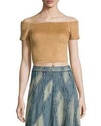 Alice + Olivia Gracelyn Suede Off The Shoulder Cropped Top Tan