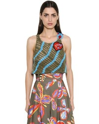 Peter Pilotto Crocheted Cotton Crop Top W Patch