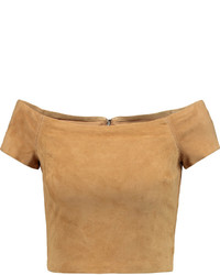 Alice + Olivia Gracelyn Cropped Off The Shoulder Suede Top