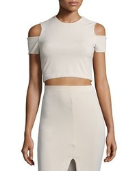 Alice + Olivia Vicki Cold Shoulder Crop Top Tan