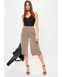 Missguided Brown Slinky Wide Leg Culottes