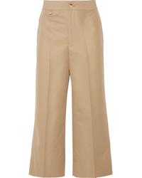 Cropped cotton wide leg pants beige medium 3700862