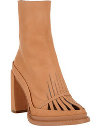 Tan Cutout Leather Ankle Boots