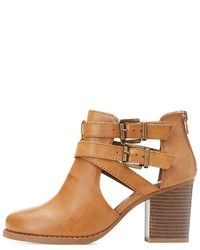 Charlotte Russe Buckled Cut Out Ankle Booties