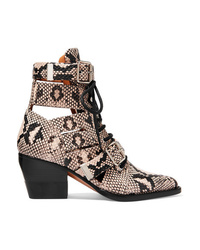Chloé Rylee Cutout Snake Effect Leather Ankle Boots