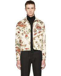 Alexander ueen beige denim floral billy jacket medium 4391737