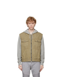 Balmain Khaki And Grey Hooded Denim Jacket