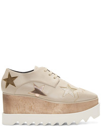 Stella McCartney Beige Elyse Star Platform Derbys