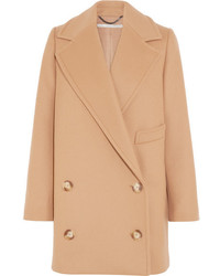 Stella McCartney Edith Double Breasted Wool Blend Felt Coat Tan