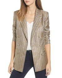 WAYF Finn Metallic Daisy Double Breasted Blazer