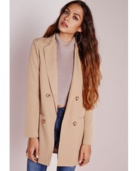 Missguided Double Breasted Blazer Camel