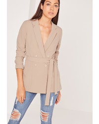 Missguided Double Breasted Tie Waist Blazer Tan