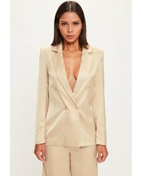 Missguided Nude Long Sleeve Double Breasted Blazer