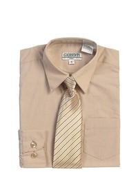 B-One Khaki Tan Button Up Dress Shirt Pinstriped Tie Set Boys 8