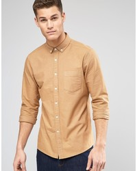 Asos Brand Oxford Shirt In Camel With Long Sleeves In Regular Fit