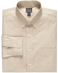 Jos. A. Bank New Traveler Slim Fit Wrinkle Free Pinpoint Solid Long Sleeve Buttondown Dress Shirt