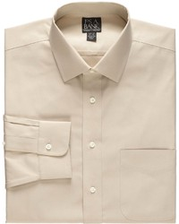 Jos. A. Bank New Traveler Slim Fit Wrinkle Free Pinpoint Solid Long Sleeve Spread Collar Dress Shirt