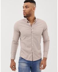 ASOS DESIGN Slim Oxford Shirt With Collar In Light Brown