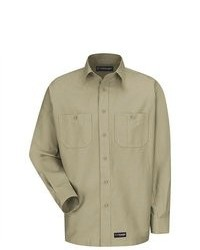 Wranlger workwear wrangler workwear khaki long sleeve canvas shirt medium 86682
