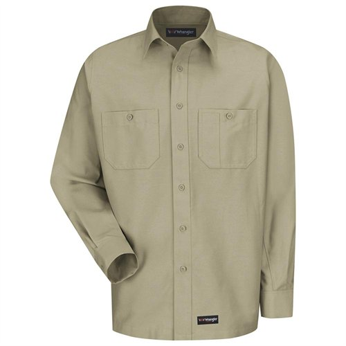 Wranlger Workwear Wrangler Workwear Khaki Long Sleeve Canvas Shirt
