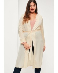 Missguided Plus Size Beige Satin Tie Waist Duster Coat
