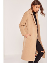 Missguided Tall Camel Brown Faux Wool Duster Coat