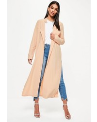 59246d603848 Missguided Nude Long Sleeve D Ring Detail Maxi Duster Coat