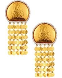 Gurhan 24k Large Diamond Moon Tassel Clip Drop Earrings 065tcw
