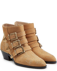 Tan Embellished Ankle Boots