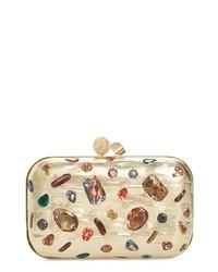 Jimmy Choo Cloud Minaudiere Crystal Embellished Metallic Box Clutch