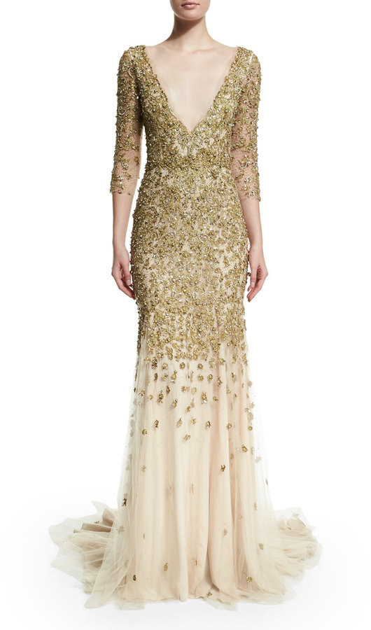 Marchesa 34 Sleeve Crystal Embellished Gown Gold | Where to buy ...