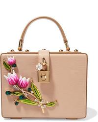 Dolce & Gabbana Dolce Embellished Lizard Effect Leather Shoulder Bag Beige