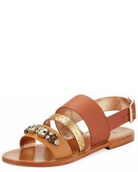 Sanchita Bejeweled Leather Strappy Flat Sandal