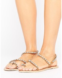 Faithfully embellished leather flat sandals medium 3744893