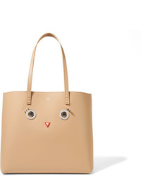 Fendi Embellished Leather Tote Mushroom