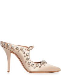 Givenchy Crystal Embellished Point Toe Satin Mules