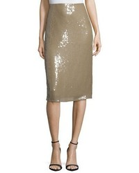 Nina Ricci Embellished Below Knee Pencil Skirt Sage Beige