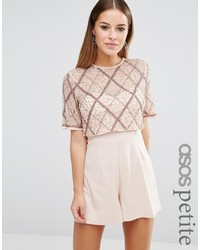 Asos Petite Petite Double Layer Embellished Romper