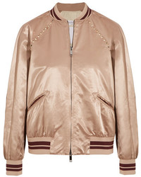 Valentino The Rockstud Embellished Satin Bomber Jacket Blush