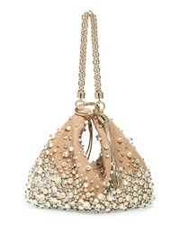 Jimmy Choo Callie Degrade Imitation Pearl Embellished Suede Clutch