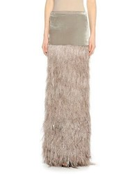 Feather embellished column maxi skirt slatebeige medium 815726