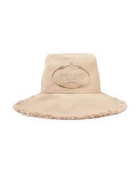 Prada Frayed Embroidered Cotton Canvas Bucket Hat